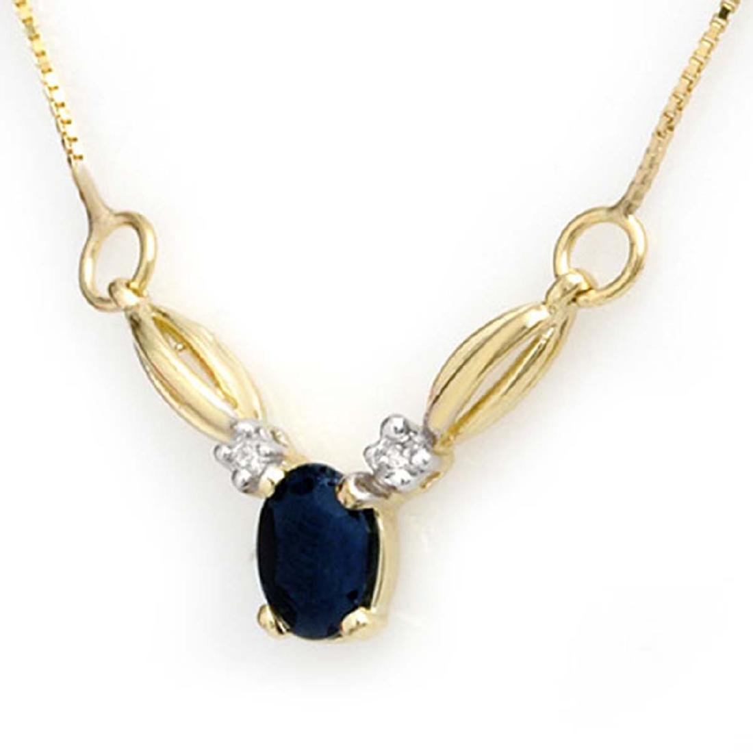 1.30 CTW Genuine Blue Sapphire & Diamond Necklace 10K