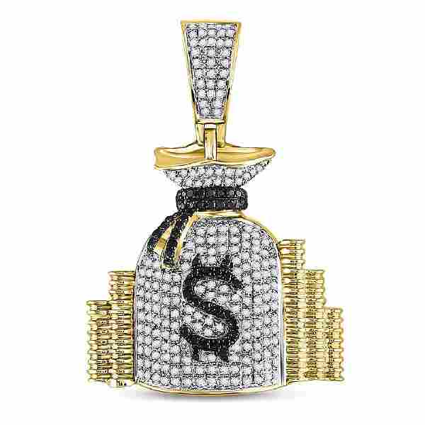 Mens Diamond Money Bag Stacks Charm Pendant 10kt Yellow