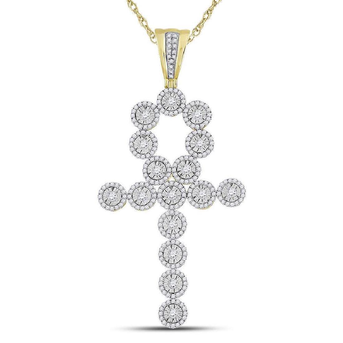 Mens Diamond Ankh Cross Charm Pendant 14kt Yellow Gold