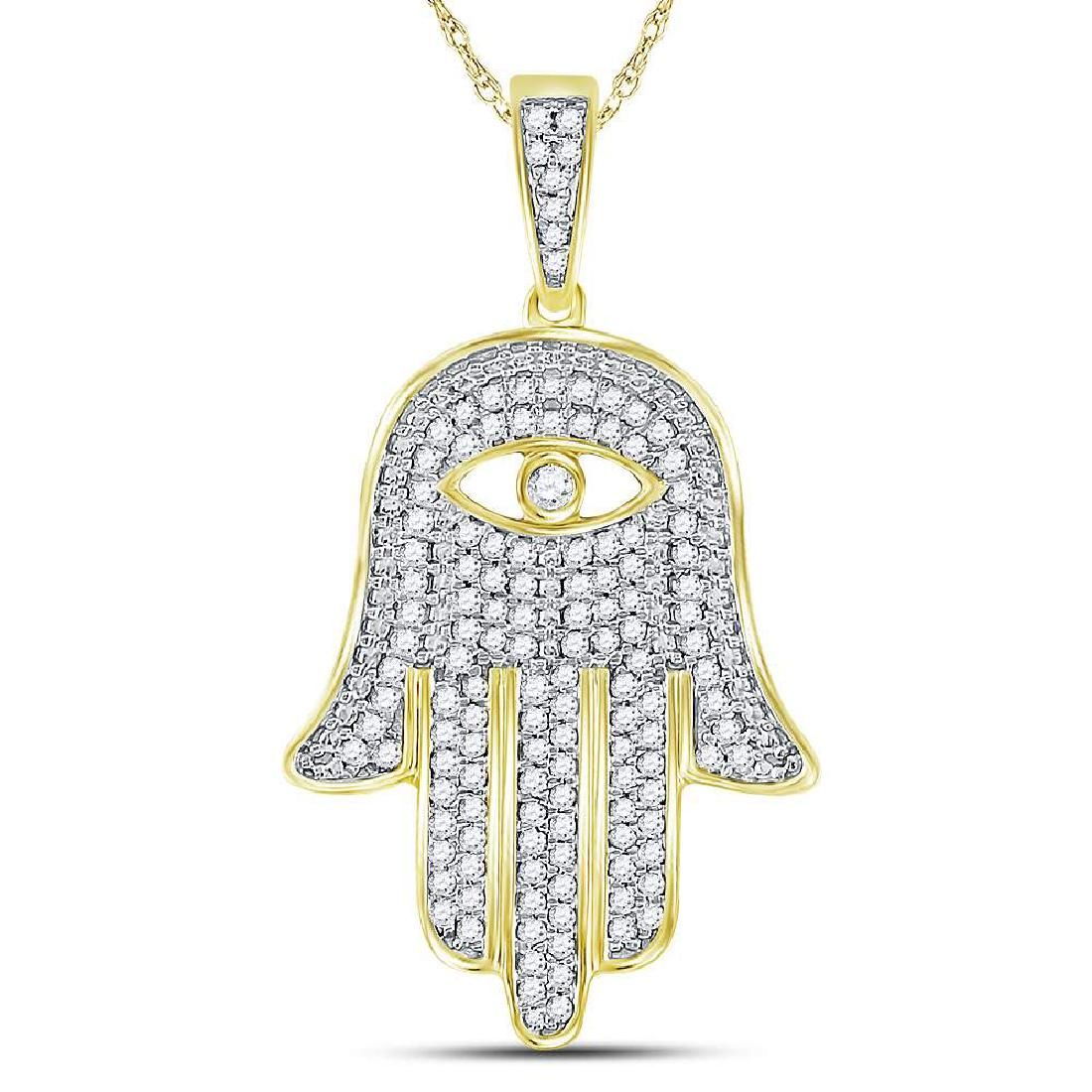 Mens Diamond Eye of Fatima Hamsa Hand Charm Pendant