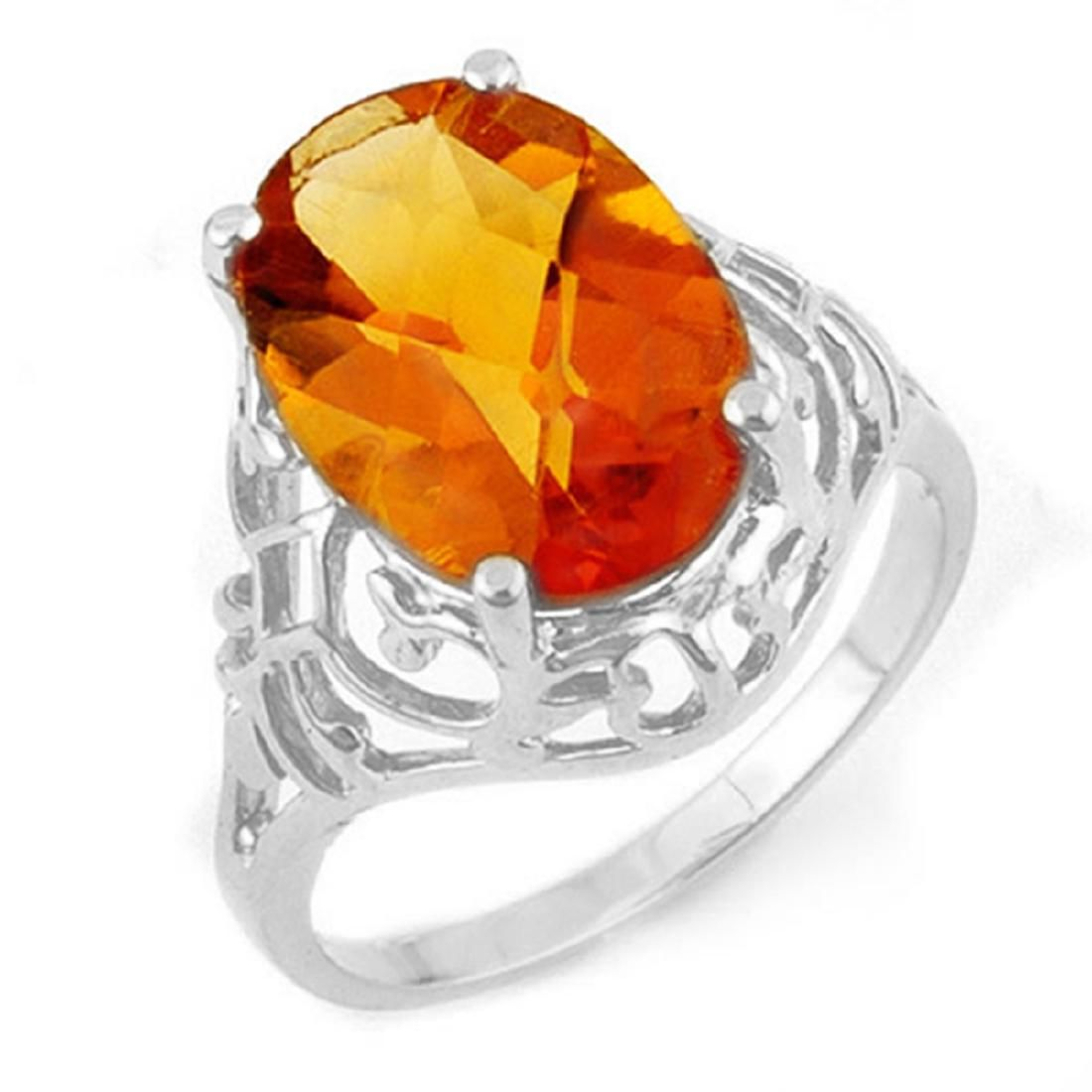 6.50 CTW Genuine Citrine Ring 14K White Gold