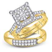 His  Hers Diamond Solitaire Matching Bridal Wedding