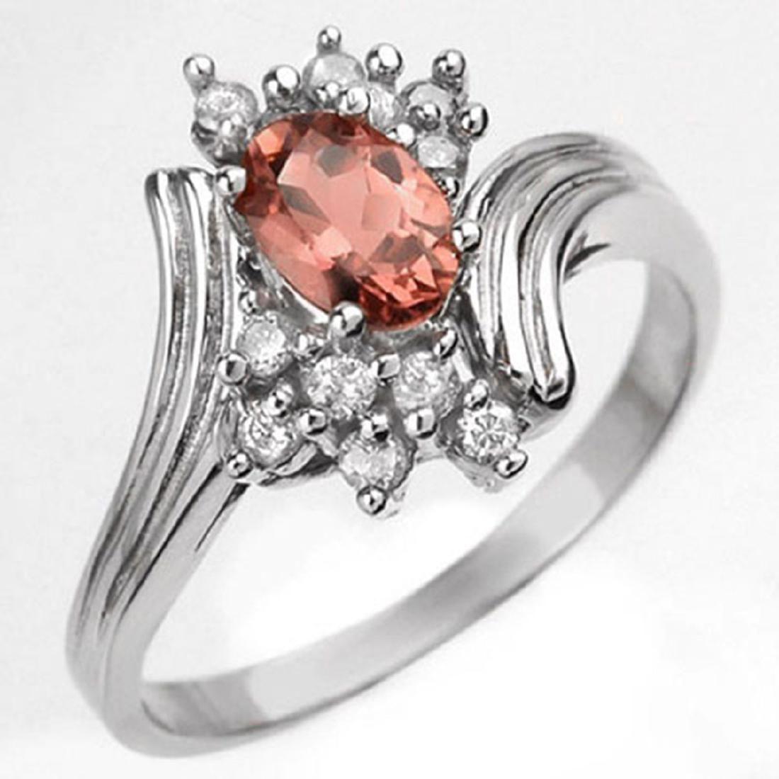 0.80 CTW Genuine Pink Tourmaline & Diamond Ring 10K
