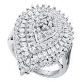 Baguette Diamond Teardrop Cluster Ring 10kt White Gold