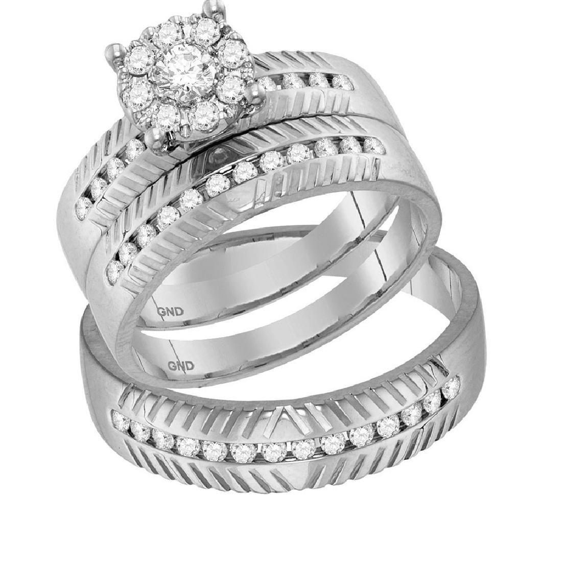 His & Hers Diamond Cluster Matching Bridal Wedding Ring