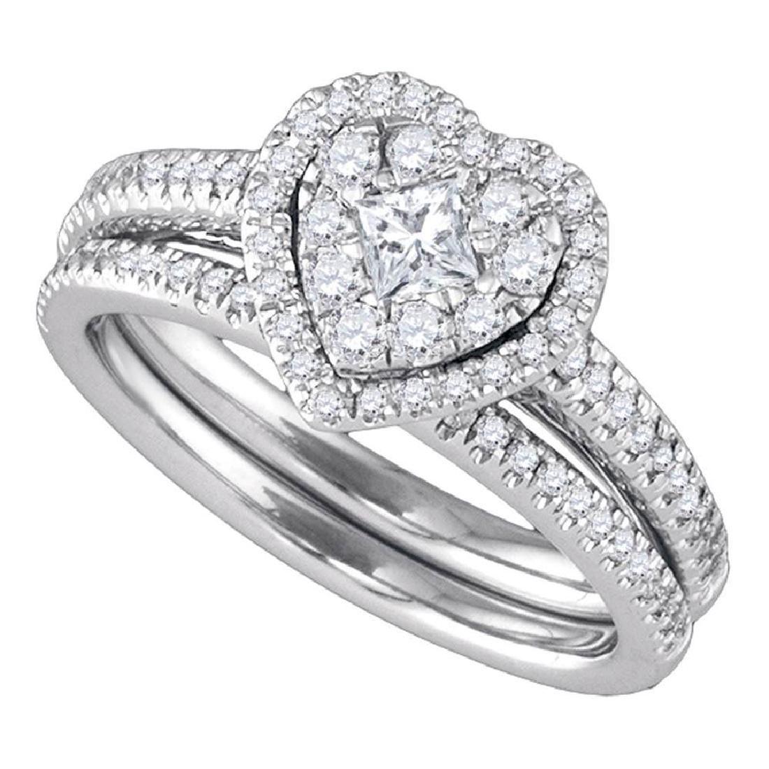 Princess Diamond Heart-shaped Halo Wedding Bridal Ring