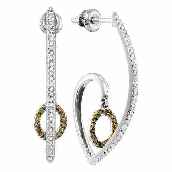 Green Color Enhanced Diamond J Hoop Oval Dangle