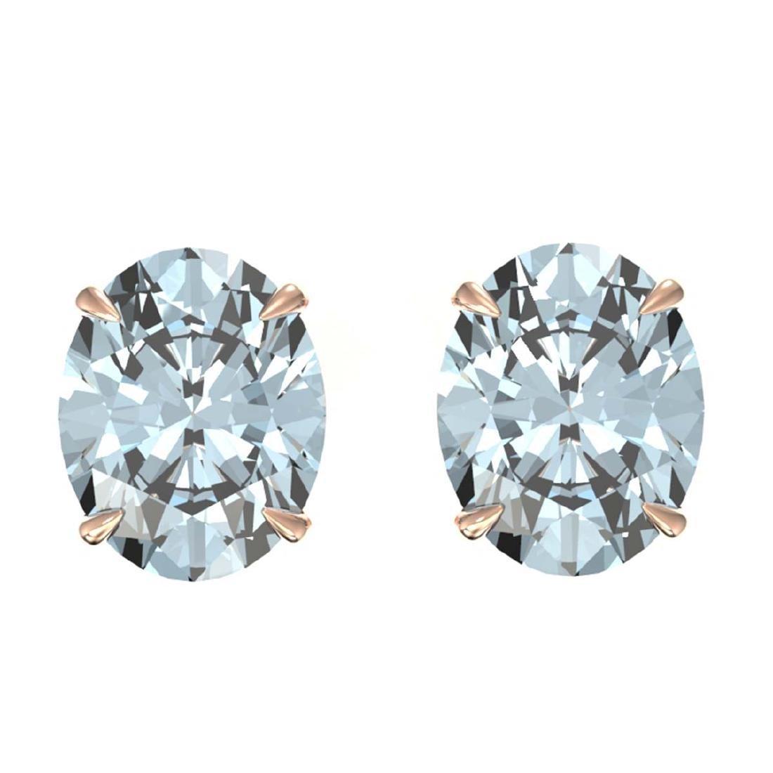 7 CTW Genuine Sky Blue Topaz Stud Earrings 14K Rose