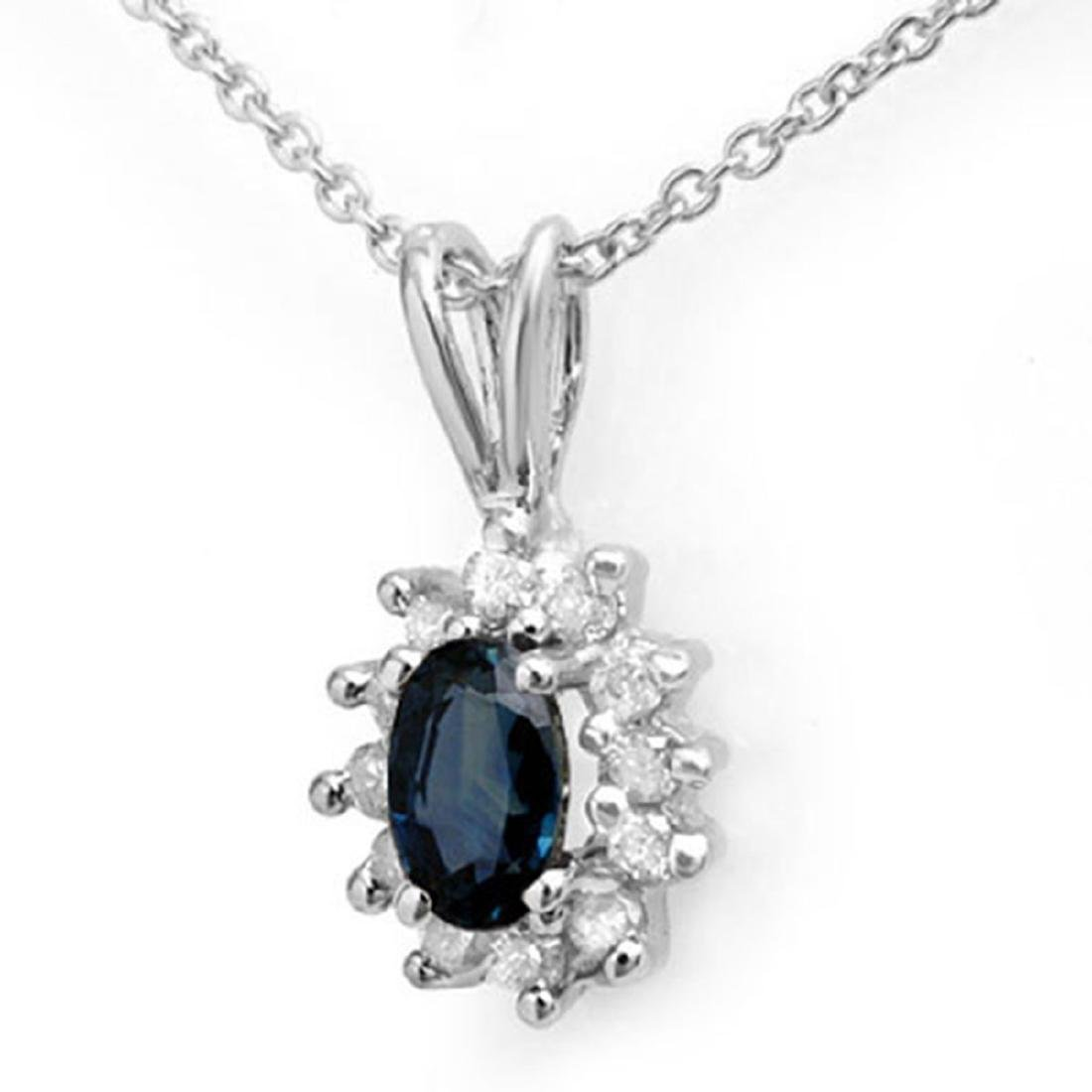 0.51 CTW Genuine Blue Sapphire & Diamond Pendant 14K