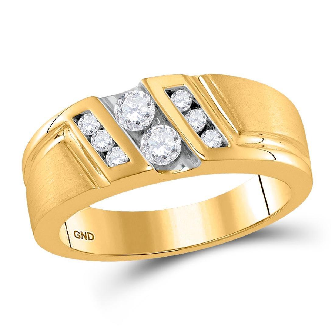 Mens Diamond Diagonal 2-stone Band 10kt Yellow Gold
