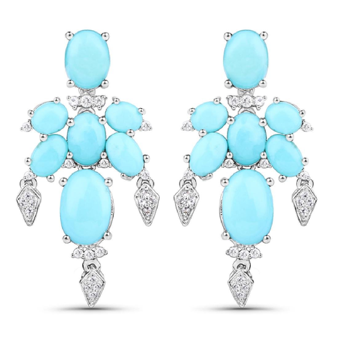 9.67 CTW Genuine Turquoise & White Topaz .925 Sterling