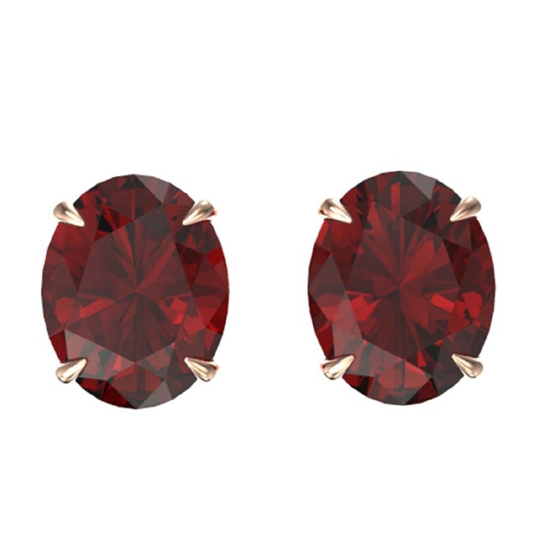 7 CTW Genuine Garnet Stud Earrings 14K Rose Gold
