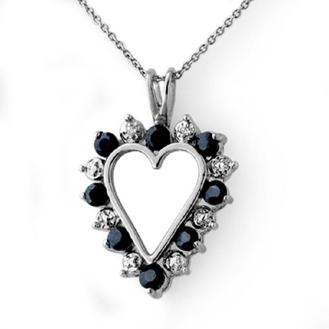 1.10 CTW Genuine Blue Sapphire & Diamond Pendant 14K