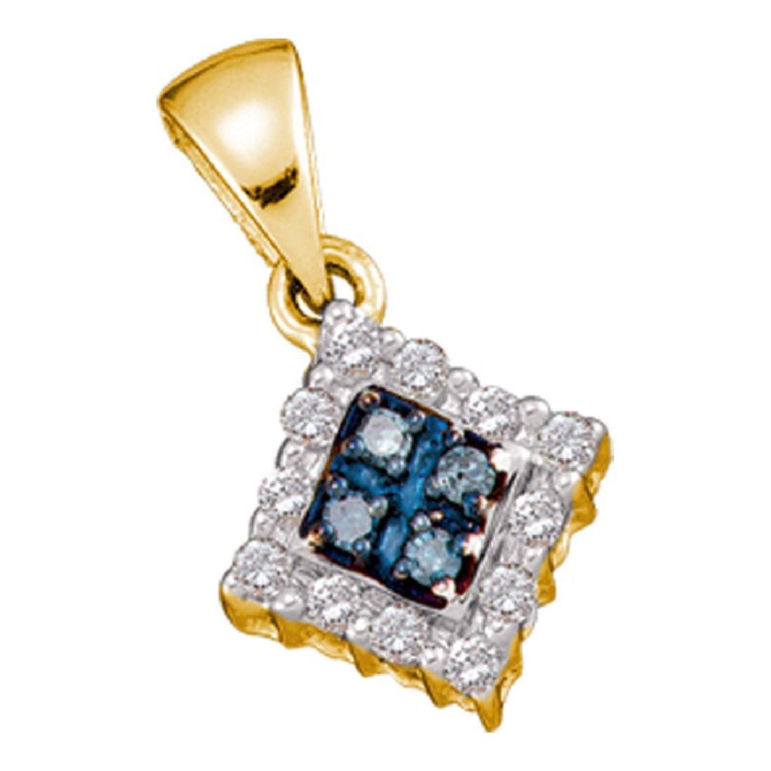 Blue Color Enhanced Diamond Cluster Pendant 10kt Yellow