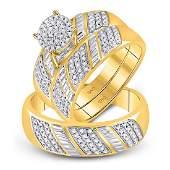 His  Hers Diamond Cluster Matching Bridal Wedding Ring