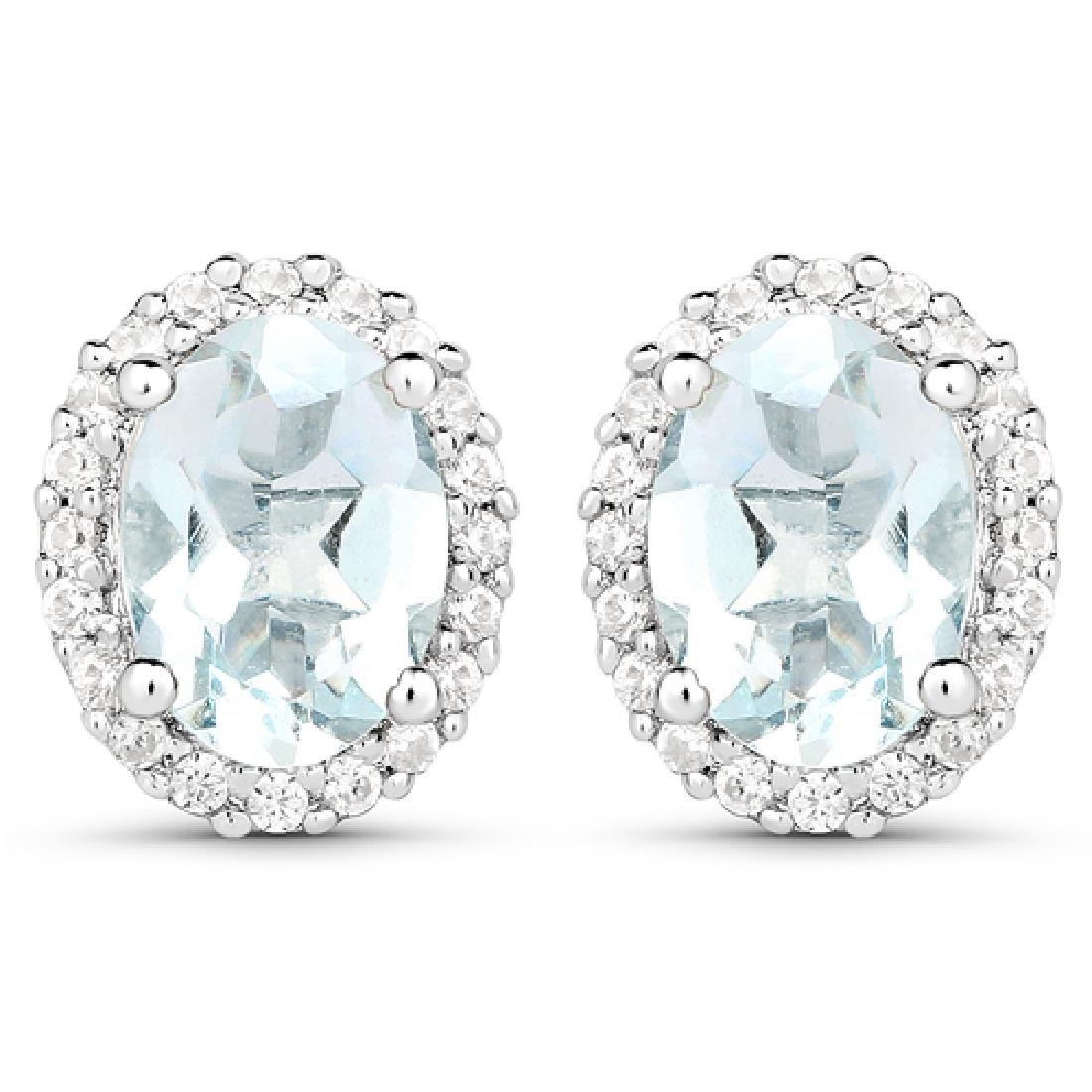 1.50 CTW Genuine Aquamarine & White Zircon .925