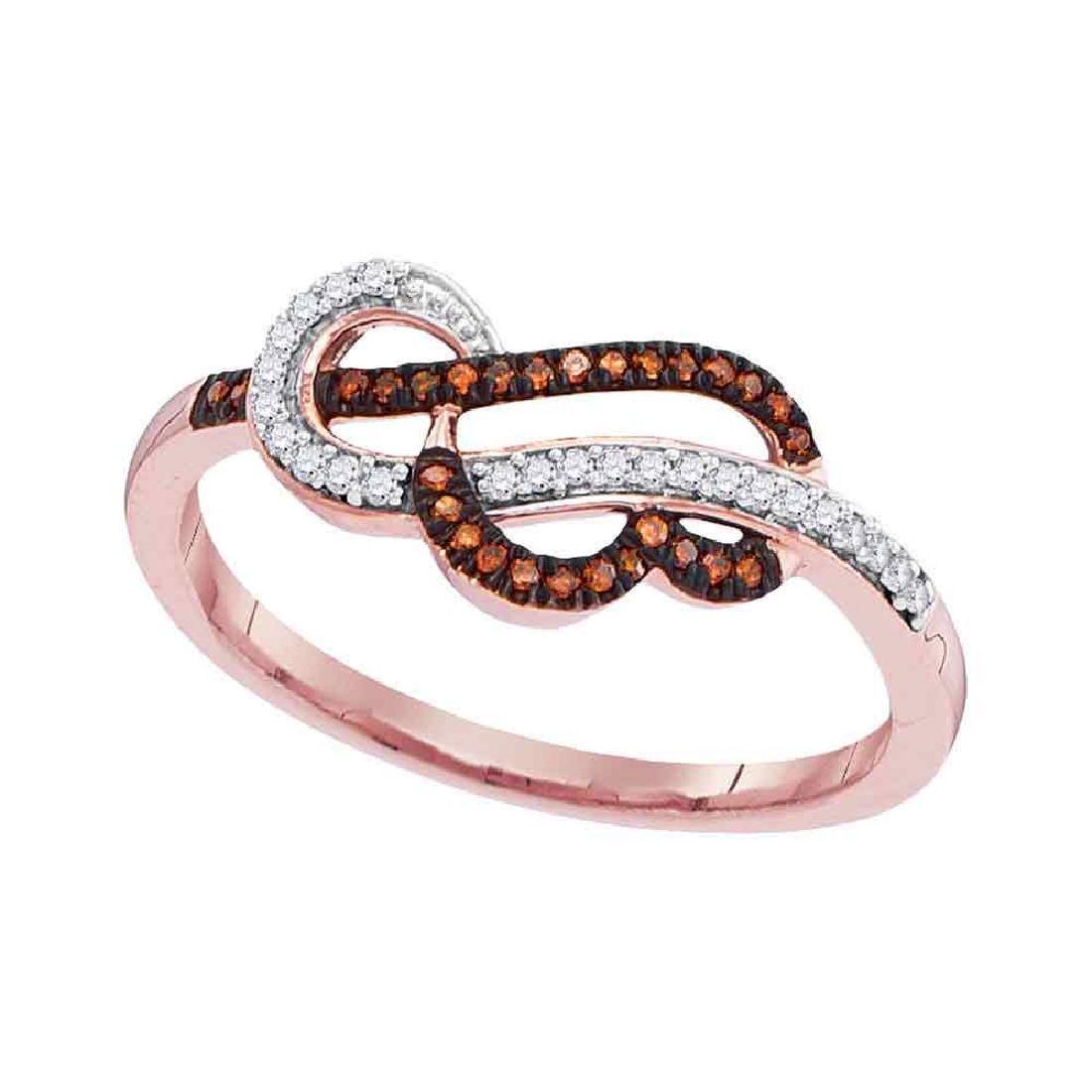Red Color Enhanced Diamond Heart Strand Ring 10kt Rose