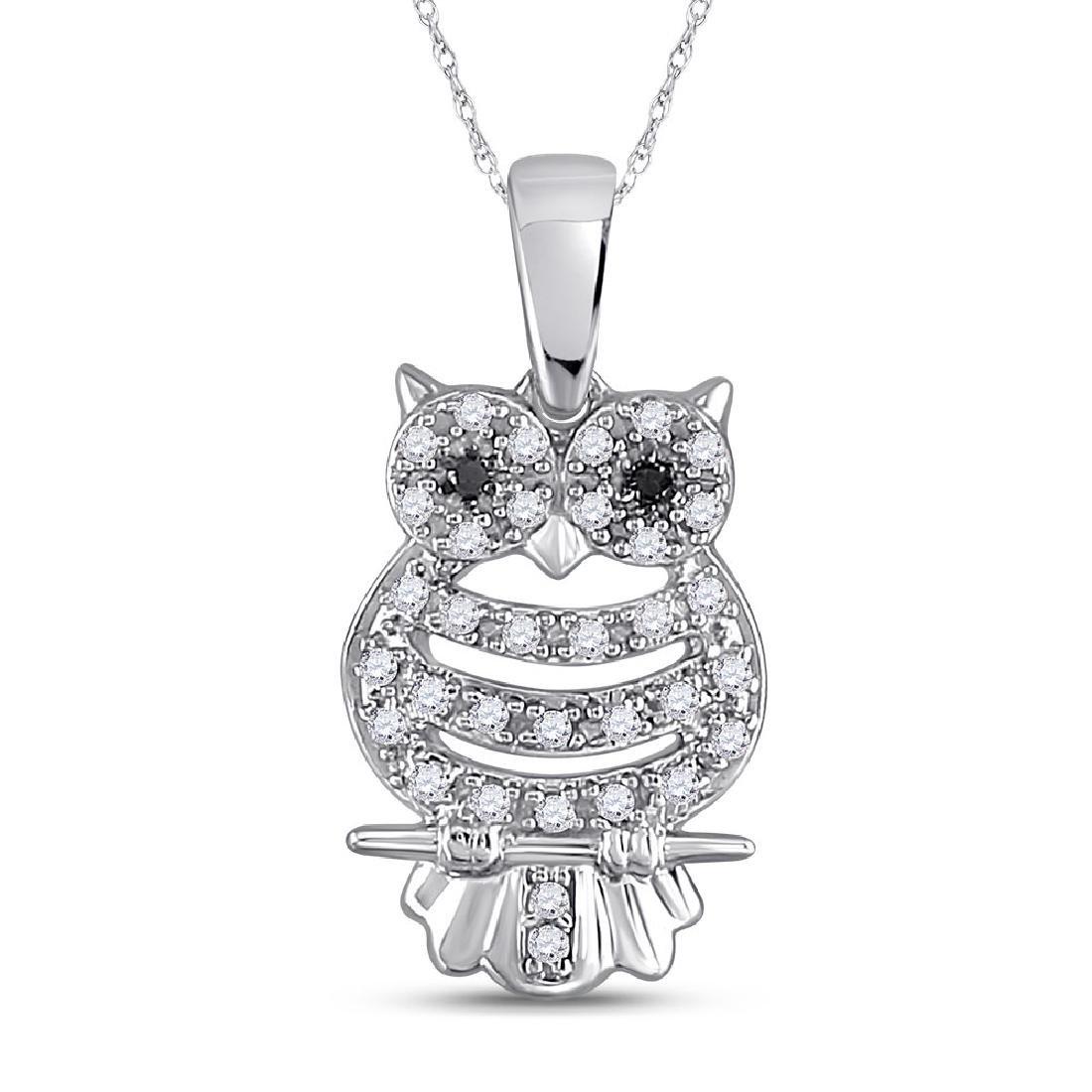 Black Color Enhanced Diamond Owl Bird Animal Pendant
