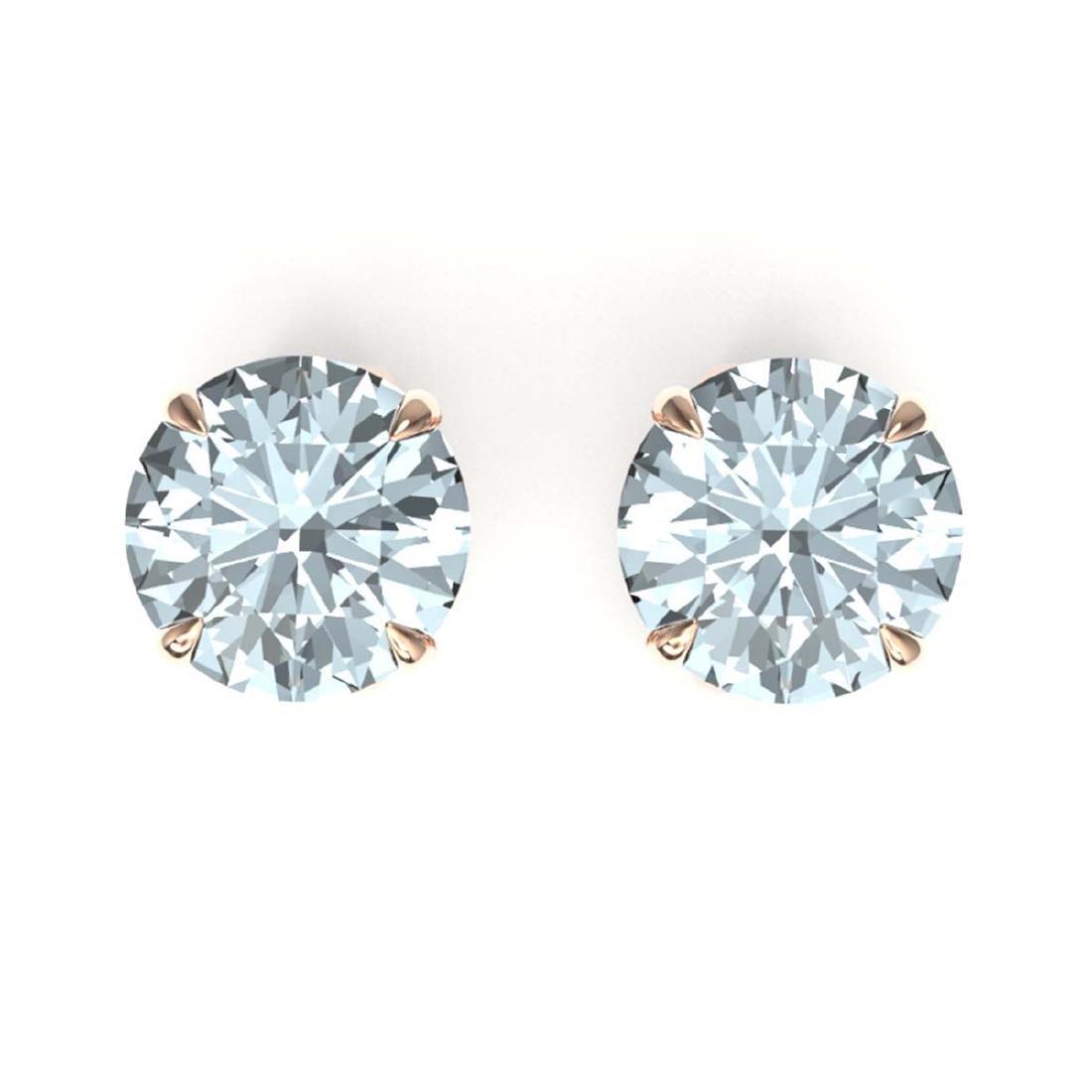 4 CTW Genuine Sky Blue Topaz Stud Earrings 14K Rose