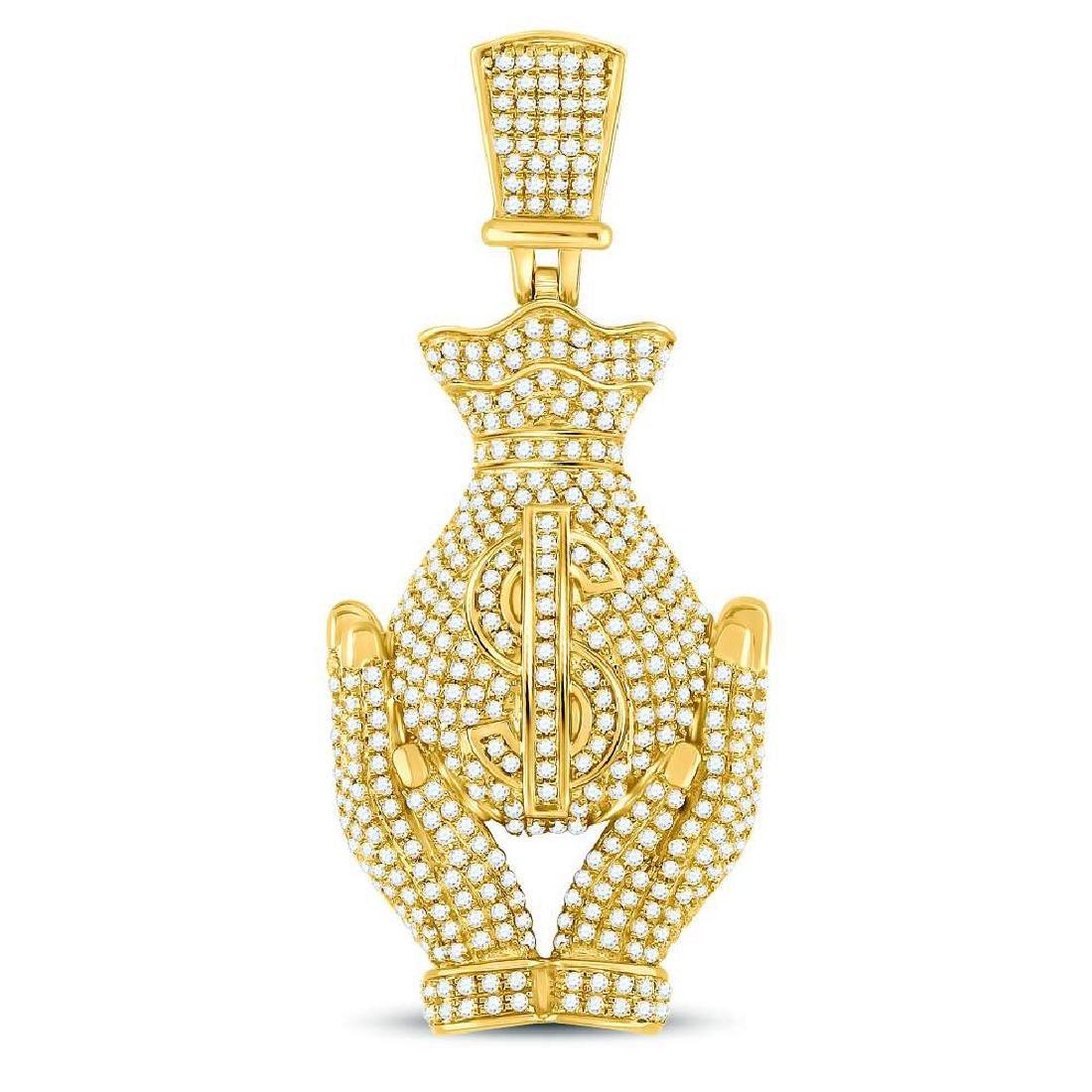 Mens Diamond Money Bag Hands Charm Pendant 10kt Yellow