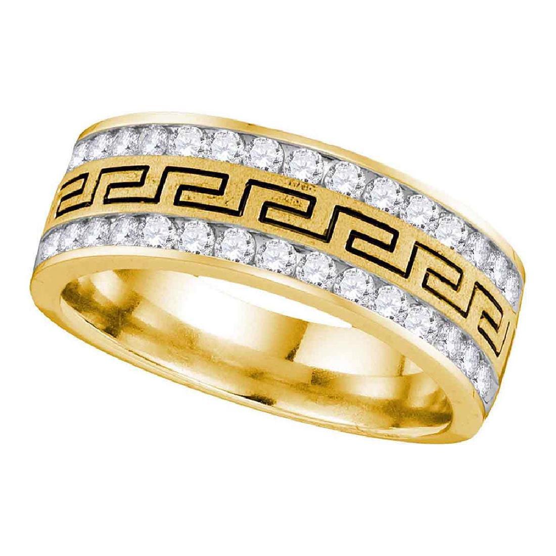 Mens Diamond Grecco Double Row Wedding Band 14kt Yellow