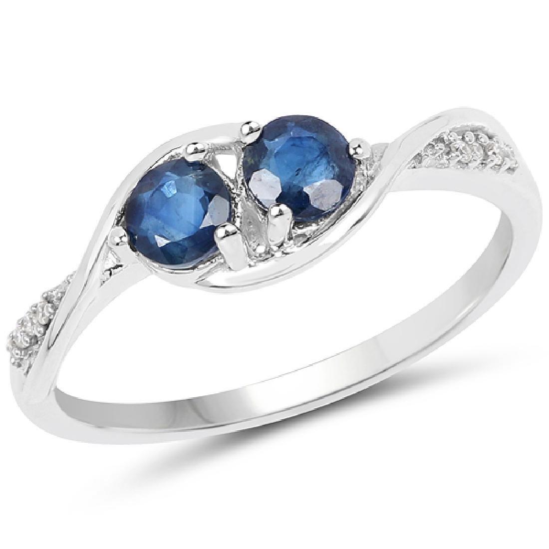 0.62 CTW Genuine Blue Sapphire & White Diamond 14K