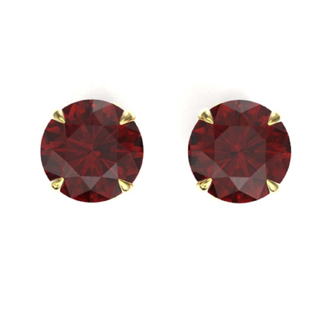 4 CTW Genuine Garnet Solitaire Stud Earrings 18K Yellow