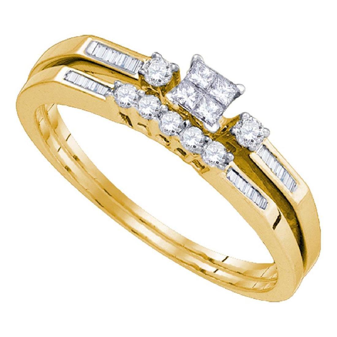 Princess Diamond Slender Wedding Bridal Engagement Ring