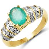 110 CTW Genuine Emerald 10K Yellow Gold Ring