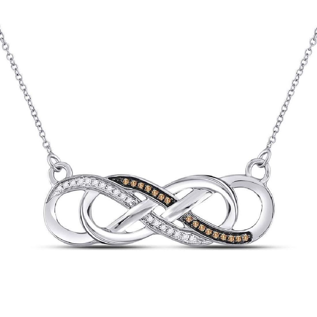 10KT White Gold Round Black Diamond Infinity Pendant Necklace 0.48 Cttw