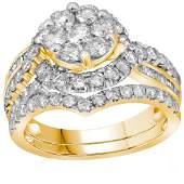 Diamond Flower Cluster Bridal Wedding Engagement Ring