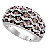 Brown Diamond Striped Fashion Ring 10kt White Gold