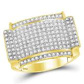Mens Diamond Rectangle Cluster Ring 10kt Yellow Gold