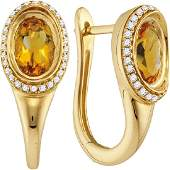 Oval Natural Citrine Diamond Hoop Earrings 14kt Yellow