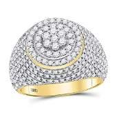 Mens Diamond Flower Cluster Ring 10kt Yellow Gold