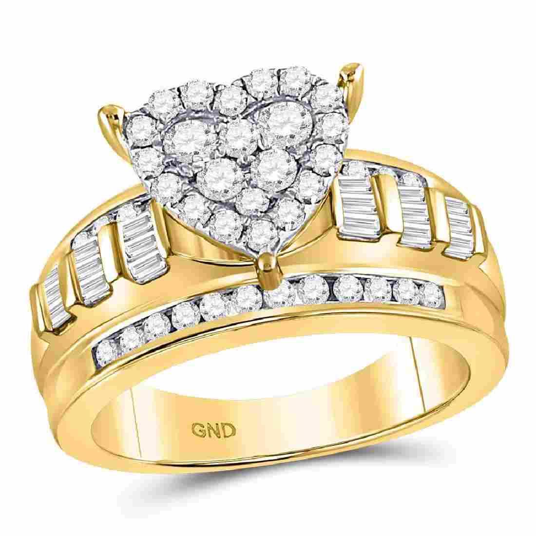 Diamond Heart Cluster Bridal Wedding Engagement Ring