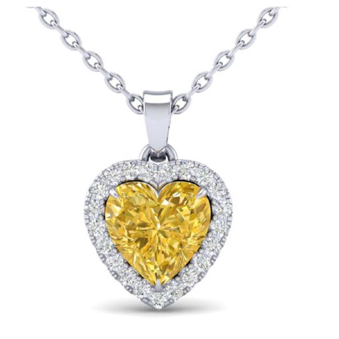 1 CTW Genuine Citrine & SI1-SI2 Diamond Heart Necklace