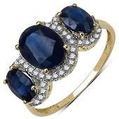 3.10 CTW Genuine White Diamond & Blue Sapphire 10K