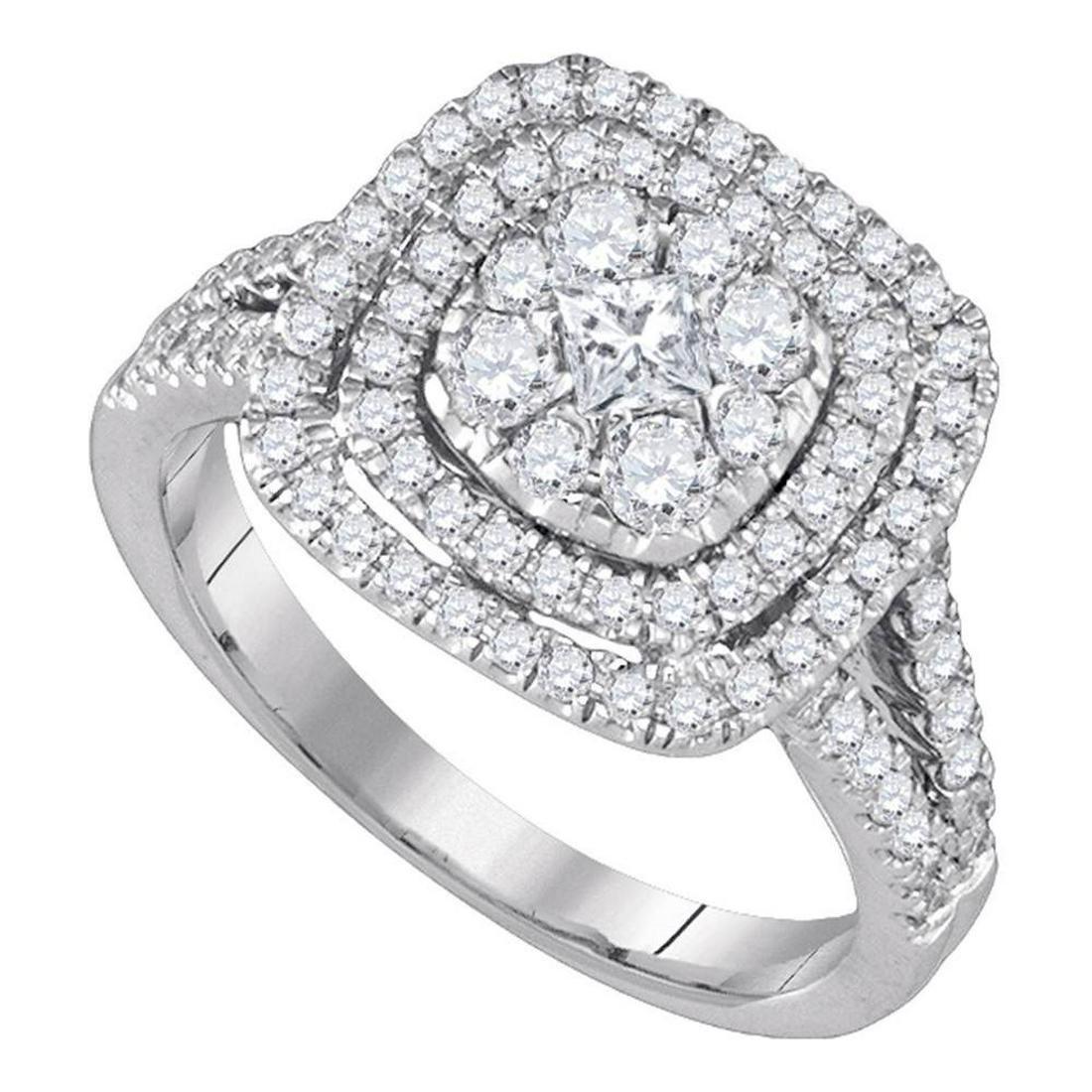 Princess Diamond Cluster Bridal Wedding Engagement Ring