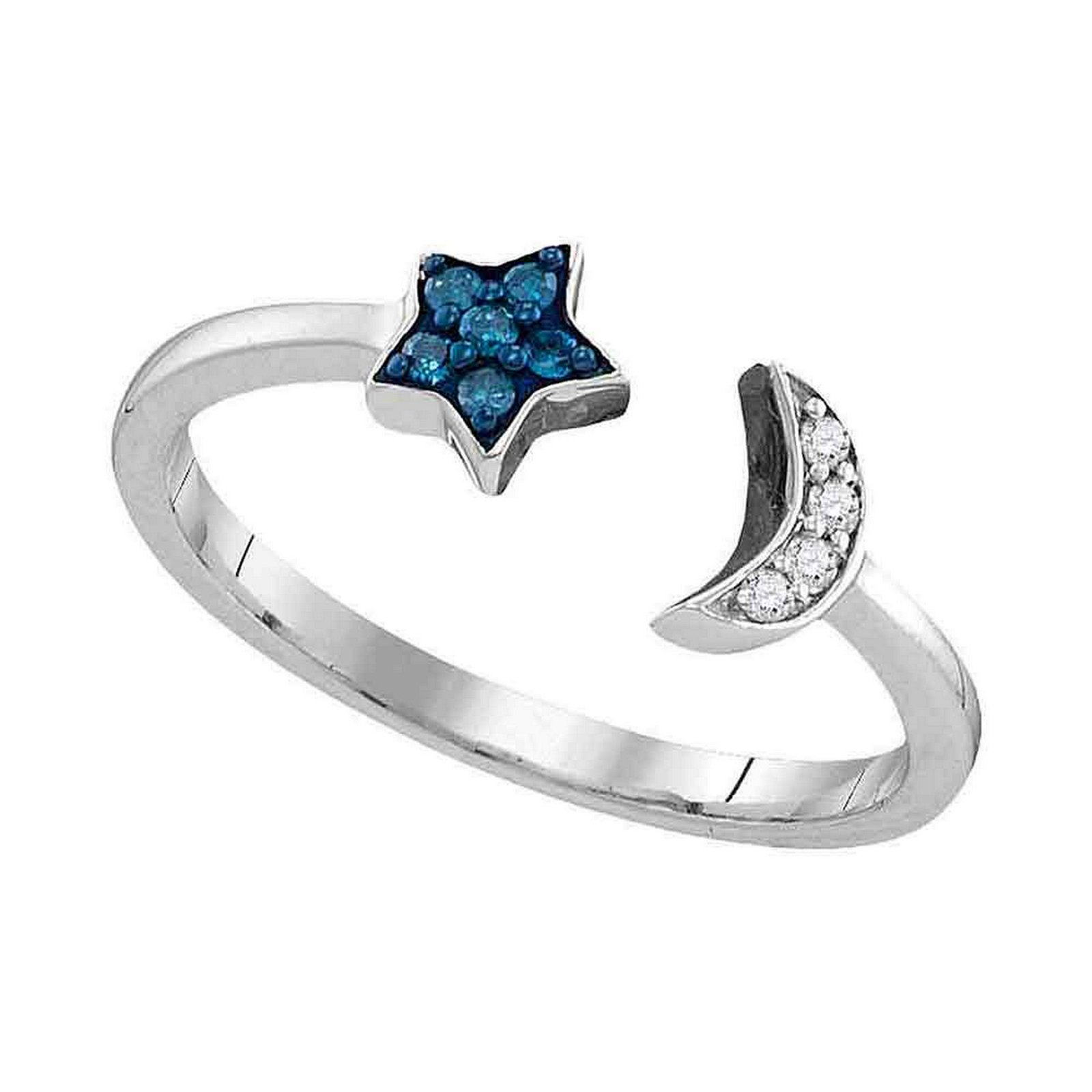 Blue Color Enhanced Diamond Star Crescent Moon Bisected