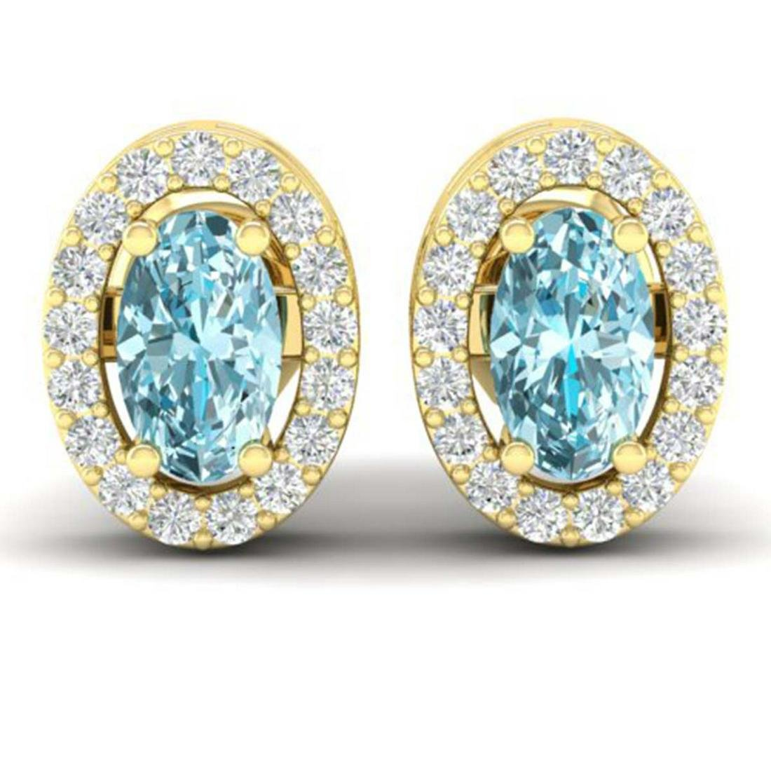 0.80 CTW Genuine Sky Blue Topaz & Diamond Earrings 18K