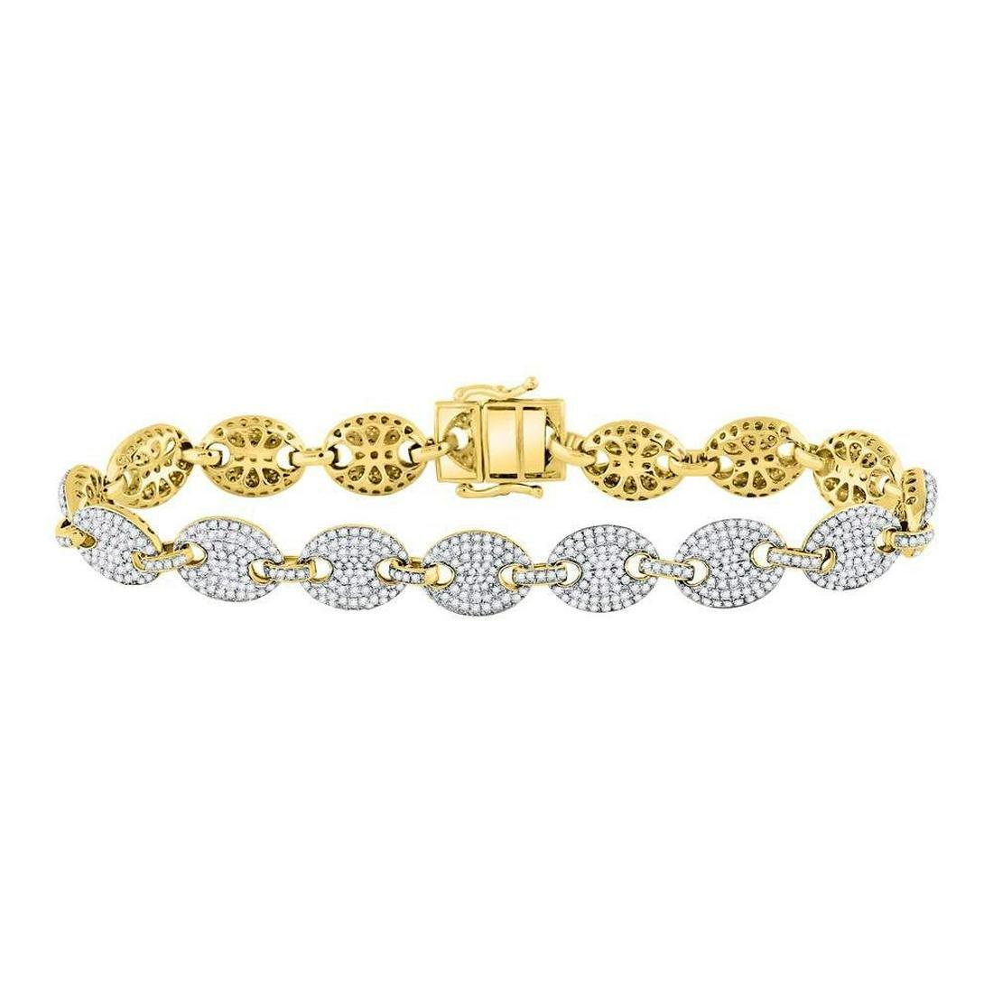 Mens Diamond Gucci Link Fashion Bracelet 10kt Yellow