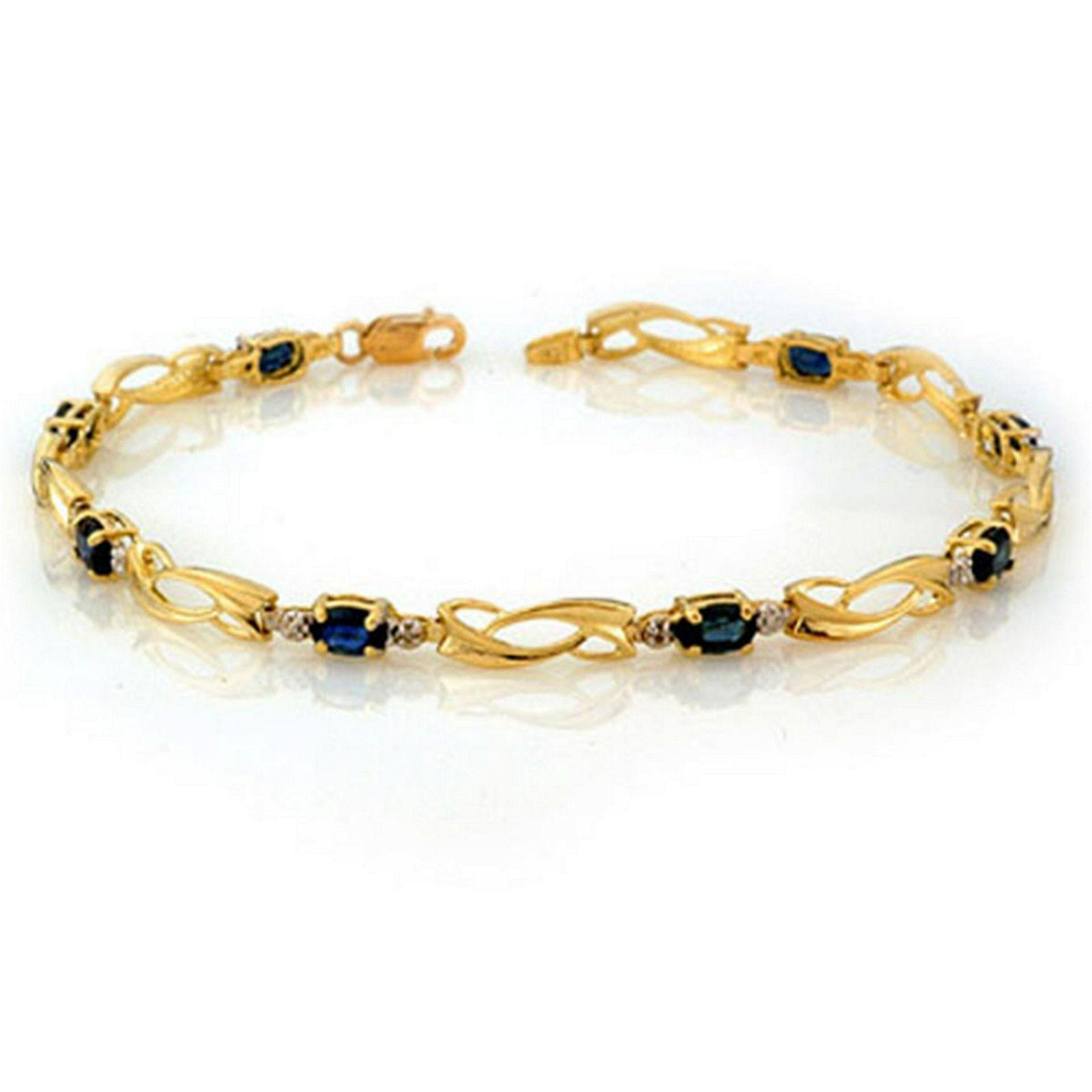 2.52 CTW Genuine Blue Sapphire & Diamond Bracelet 10K