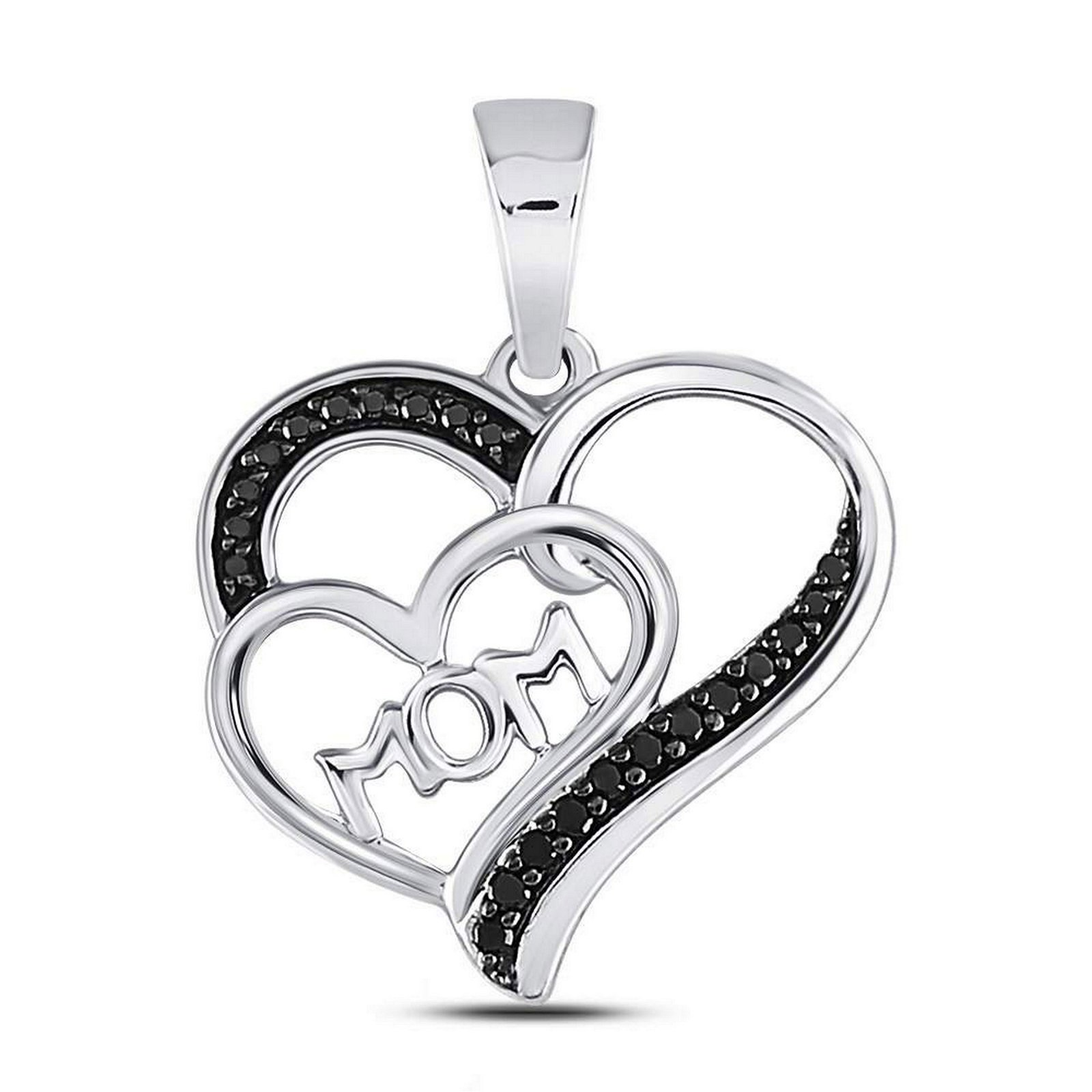 Black Color Enhanced Diamond Mom Mother Heart Pendant