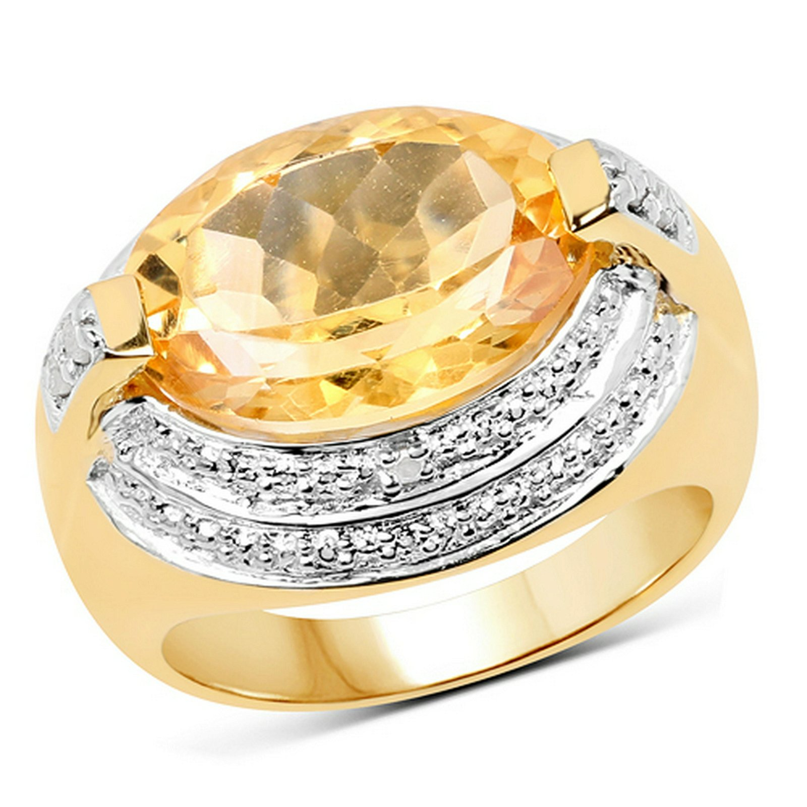 5.06 CTW Genuine Citrine & White Diamond .925 Sterling