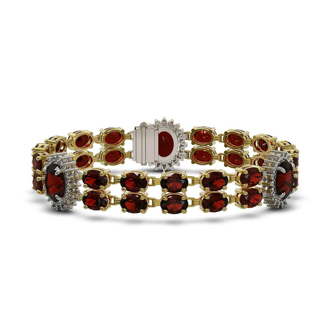 16.47 ctw Garnet & Diamond Bracelet 14K Yellow Gold