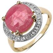 540 CTW Pink Sapphire  White Topaz Ring in Sterling