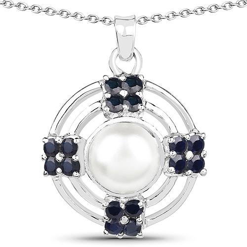 4.30 CTW Genuine Pearl & Blue Sapphire .925 Sterling