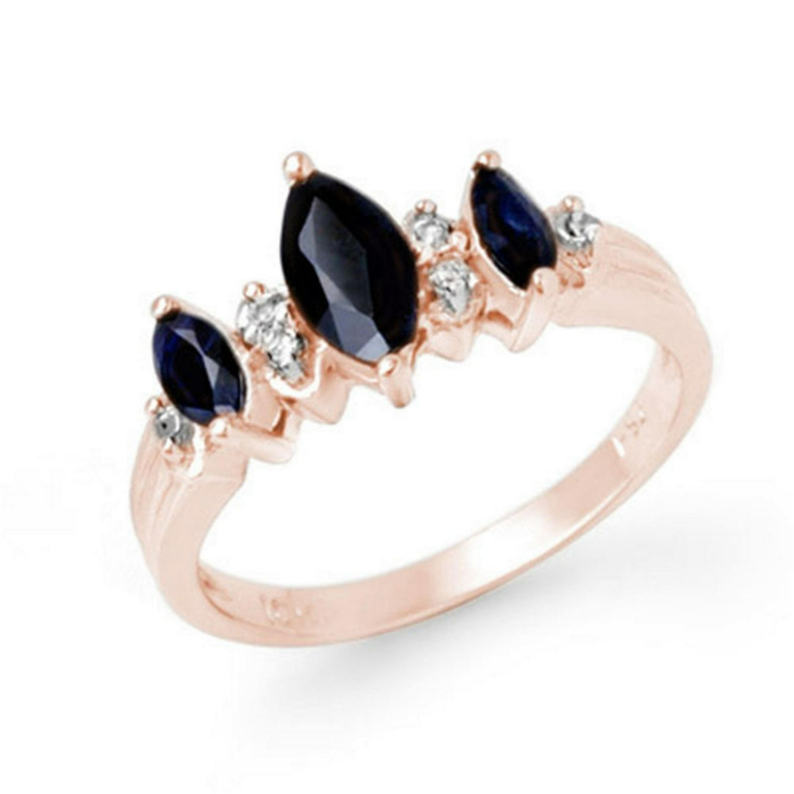 1.0 CTW Genuine Blue Sapphire & Diamond Ring 10K Rose