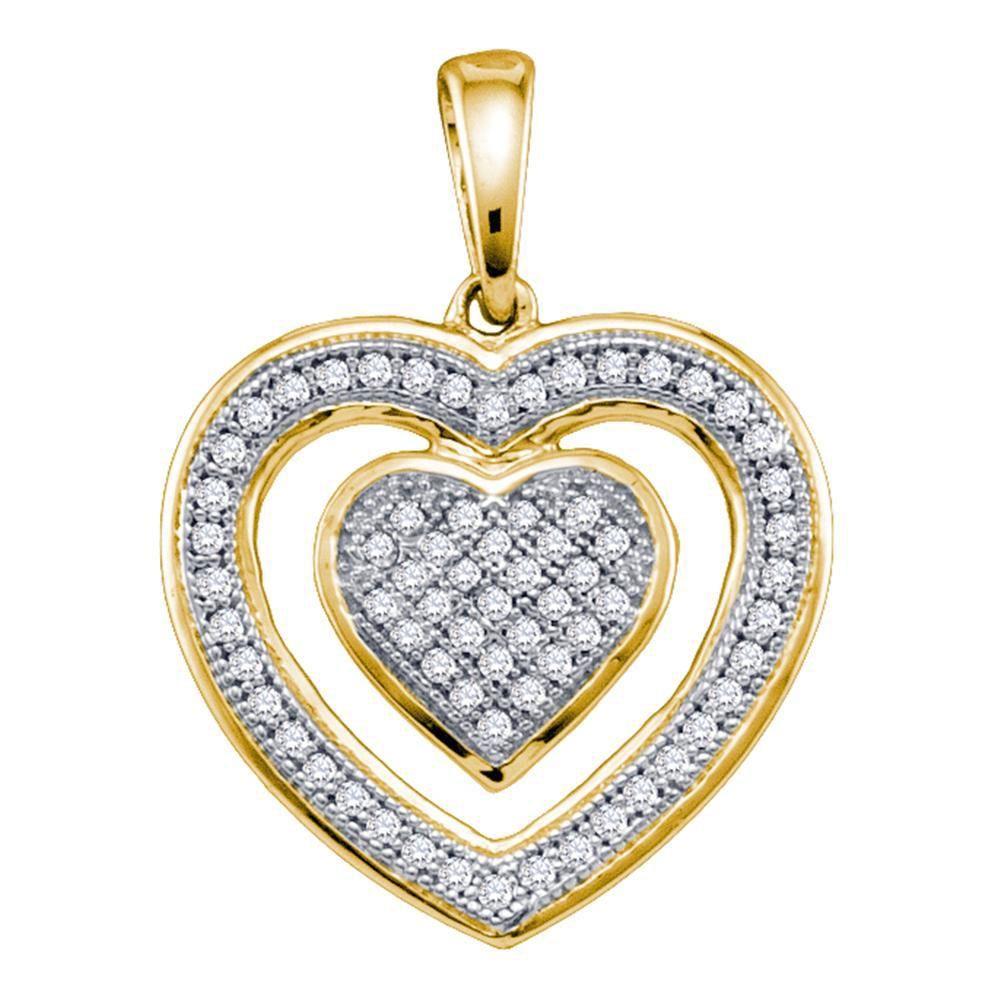 10K Yellow Gold Pendant Heart 0.2ctw Diamond